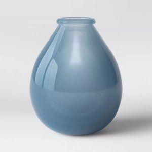 "NWOT 9"" x 7.8"" Sandblasted Glass Vase Blue"